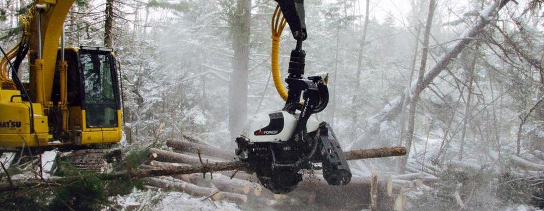 AFM 45 harvesting head on Komatsu excavator